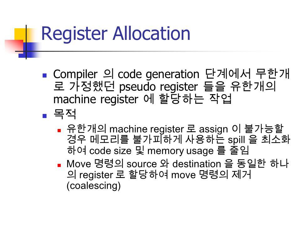 Register Allocation Compiler 의 code generation 단계에서 무한개로 가정했던 pseudo register 들을 유한개의 machine register 에 할당하는 작업.