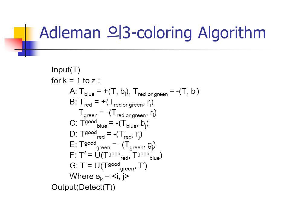 Adleman 의3-coloring Algorithm