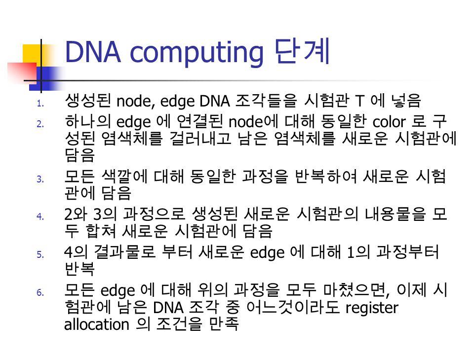 DNA computing 단계 생성된 node, edge DNA 조각들을 시험관 T 에 넣음