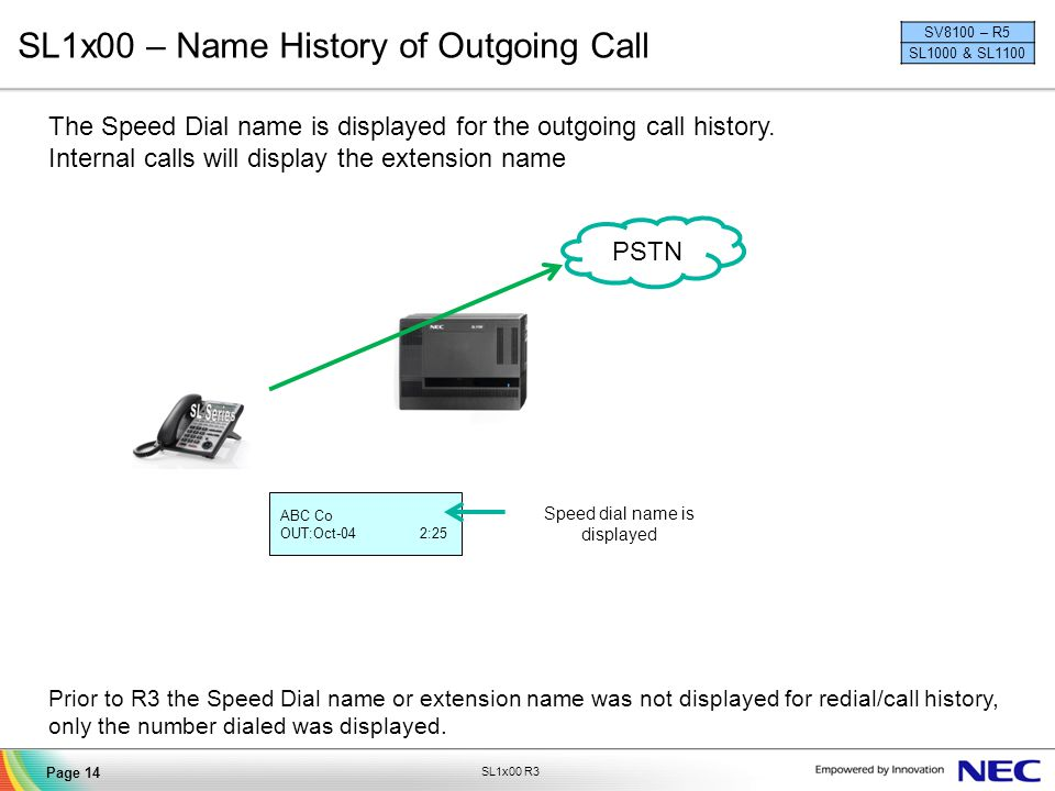 SL1x00 – Name History of Outgoing Call