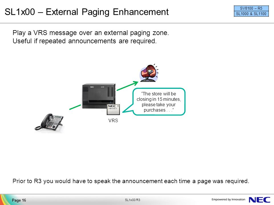SL1x00 – External Paging Enhancement