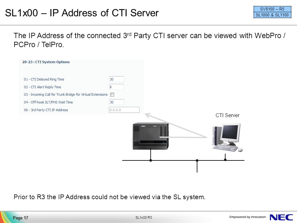 SL1x00 – IP Address of CTI Server