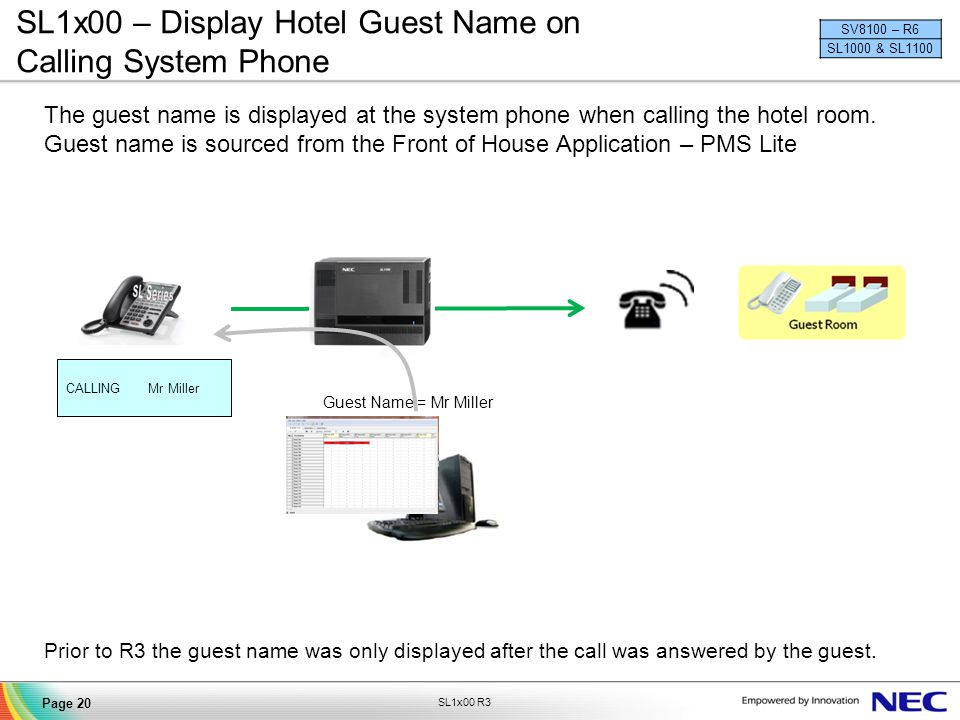 SL1x00 – Display Hotel Guest Name on Calling System Phone