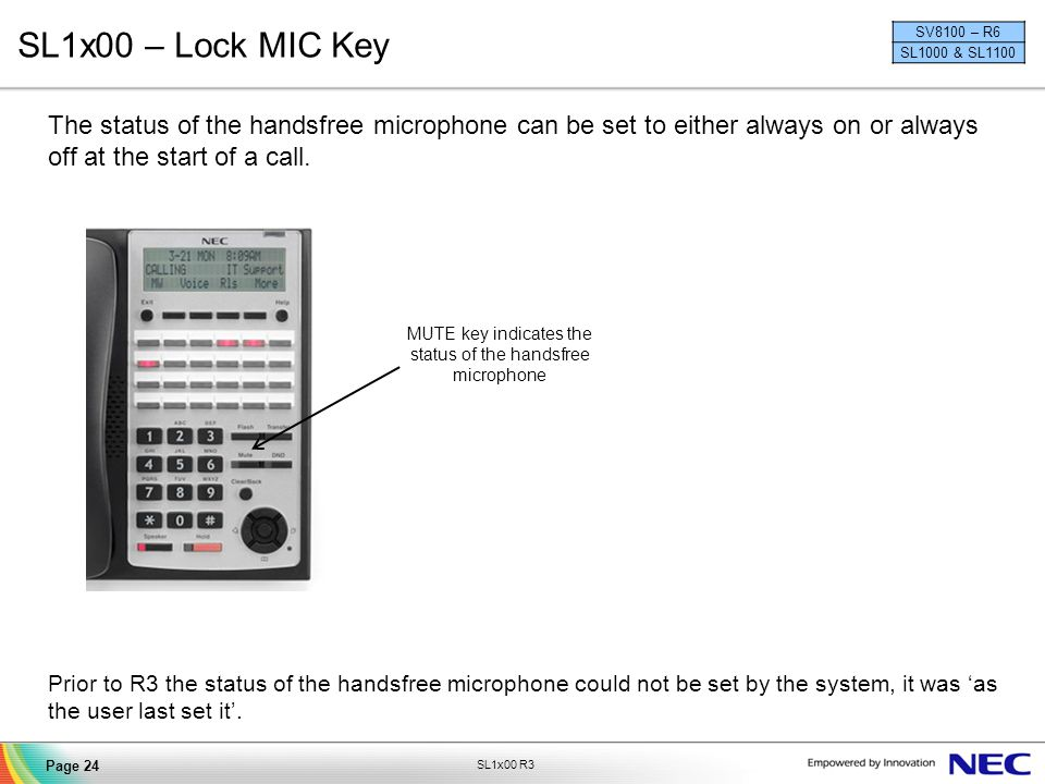 MUTE key indicates the status of the handsfree microphone