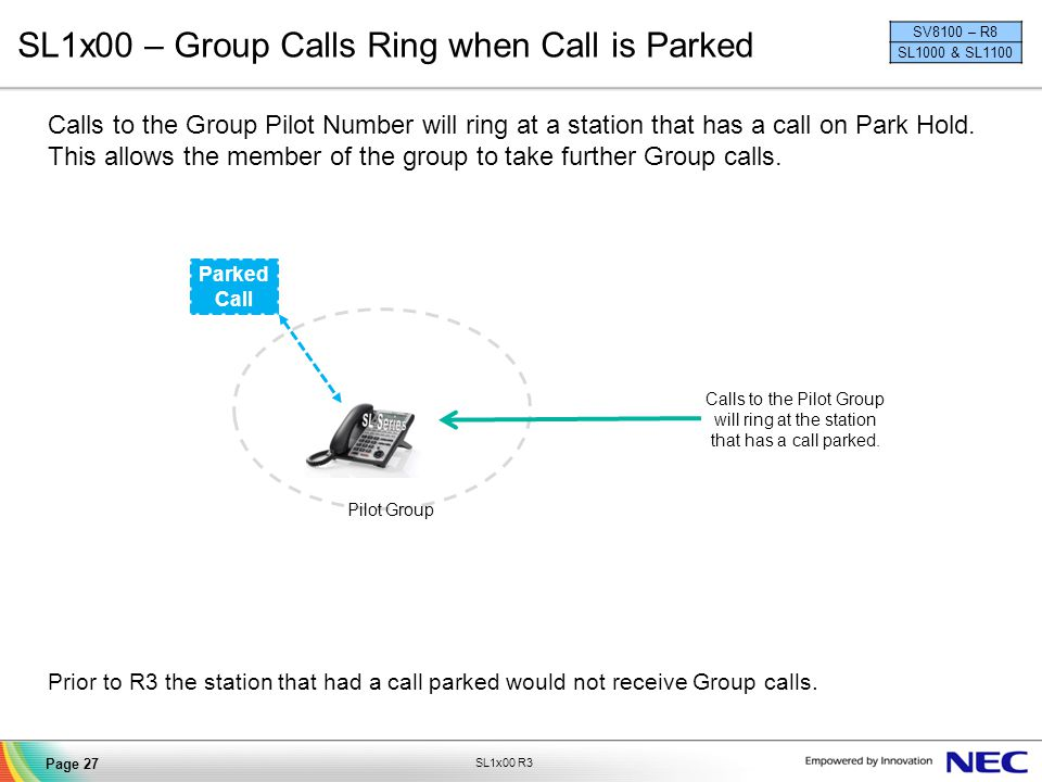 SL1x00 – Group Calls Ring when Call is Parked