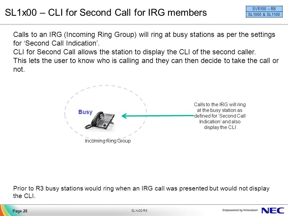 SL1x00 – CLI for Second Call for IRG members