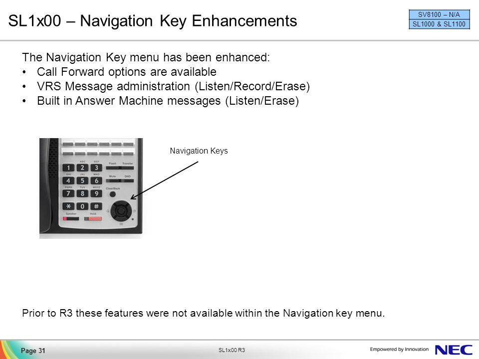 SL1x00 – Navigation Key Enhancements