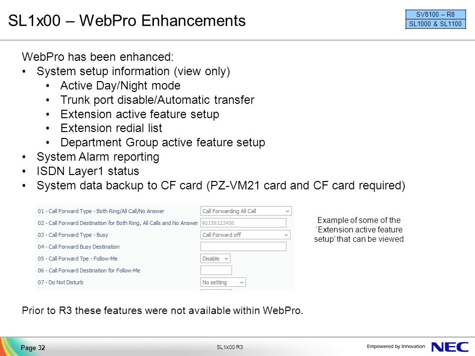 SL1x00 – WebPro Enhancements