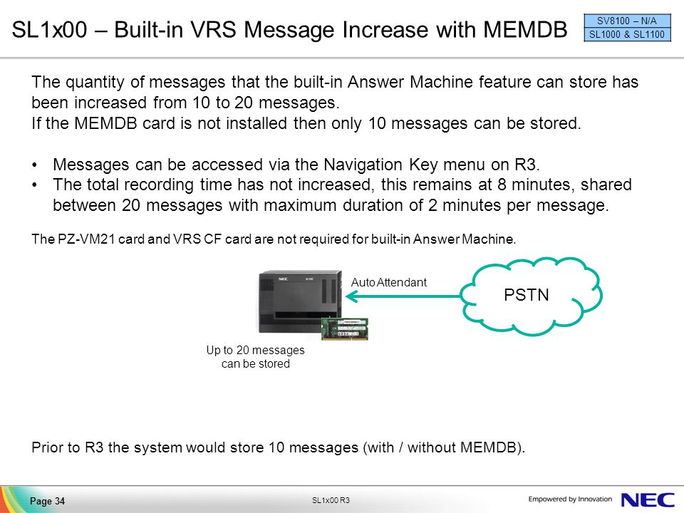 SL1x00 – Built-in VRS Message Increase with MEMDB