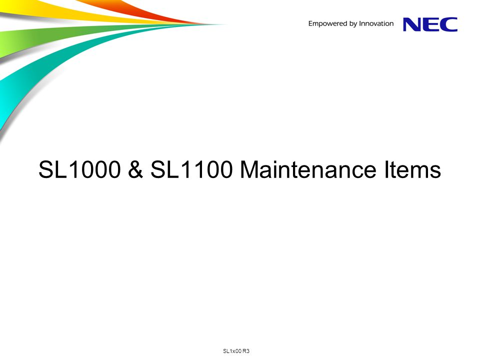 SL1000 & SL1100 Maintenance Items