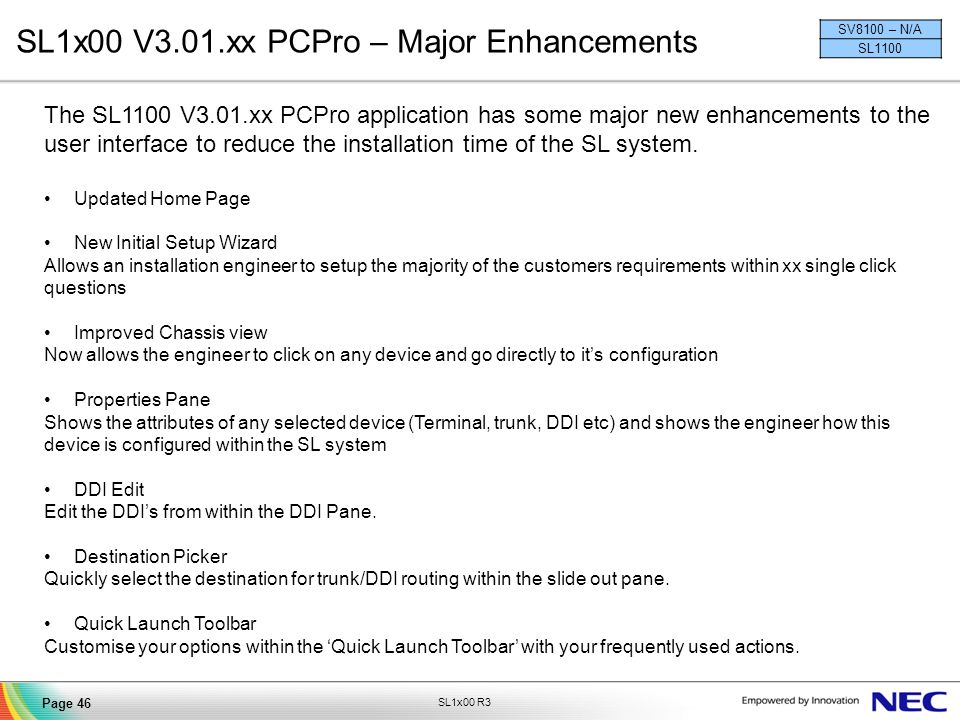 SL1x00 V3.01.xx PCPro – Major Enhancements