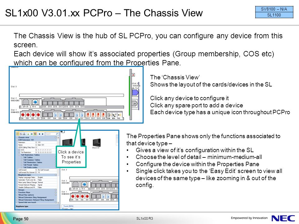 SL1x00 V3.01.xx PCPro – The Chassis View