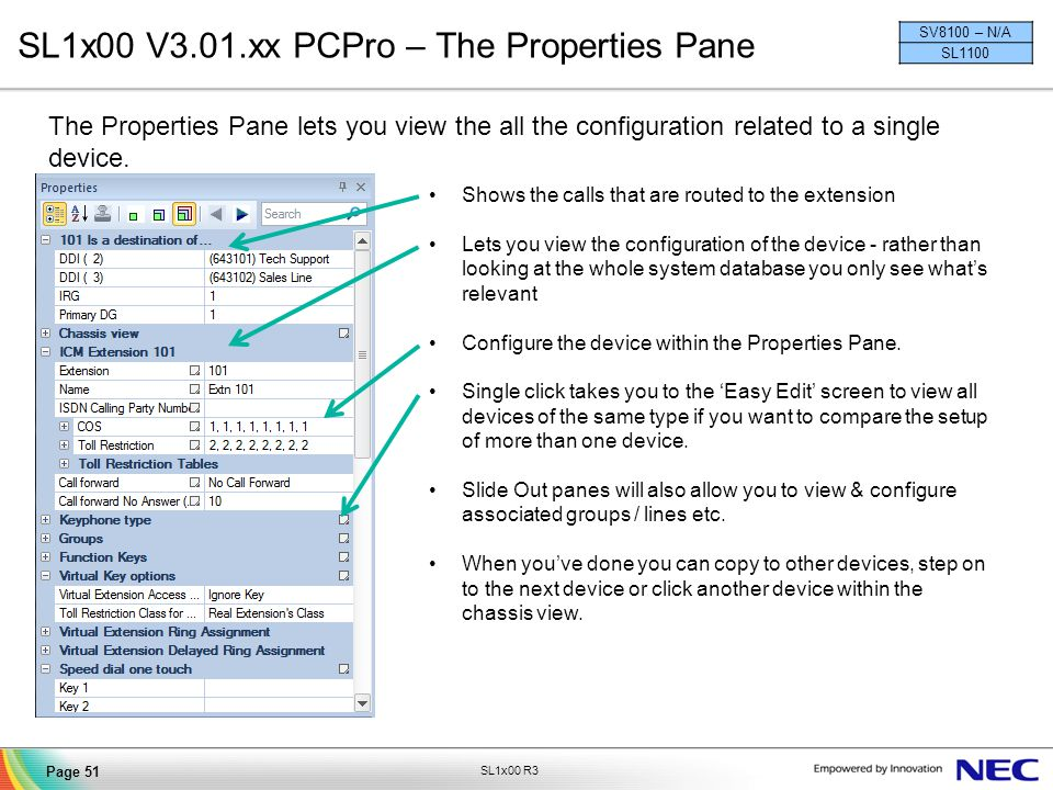 SL1x00 V3.01.xx PCPro – The Properties Pane
