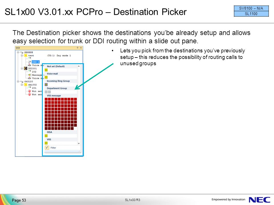 SL1x00 V3.01.xx PCPro – Destination Picker