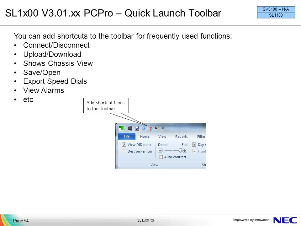 SL1x00 V3.01.xx PCPro – Quick Launch Toolbar