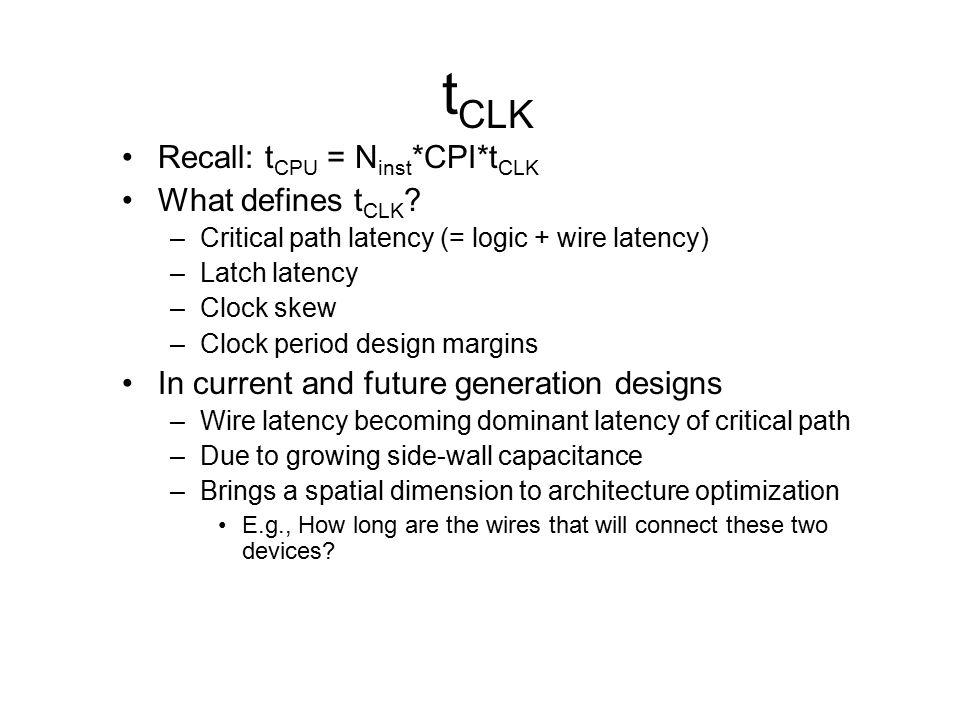 tCLK Recall: tCPU = Ninst*CPI*tCLK What defines tCLK