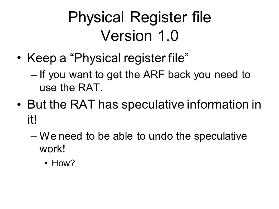 Physical Register file Version 1.0