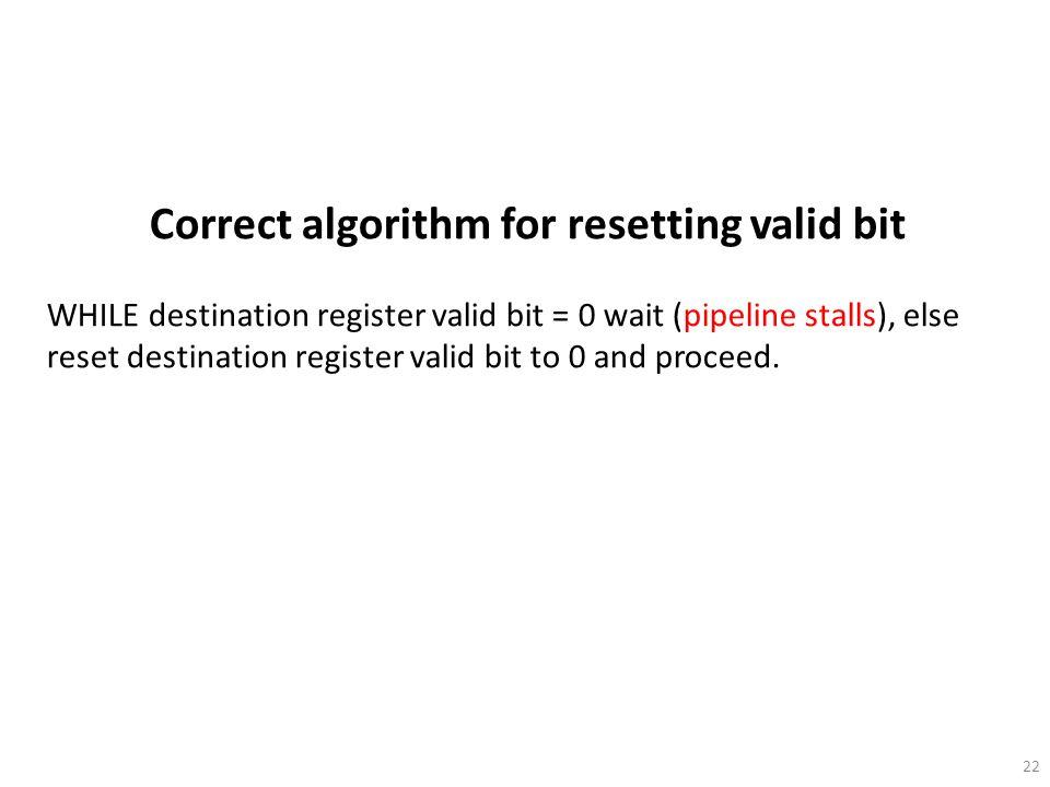 Correct algorithm for resetting valid bit
