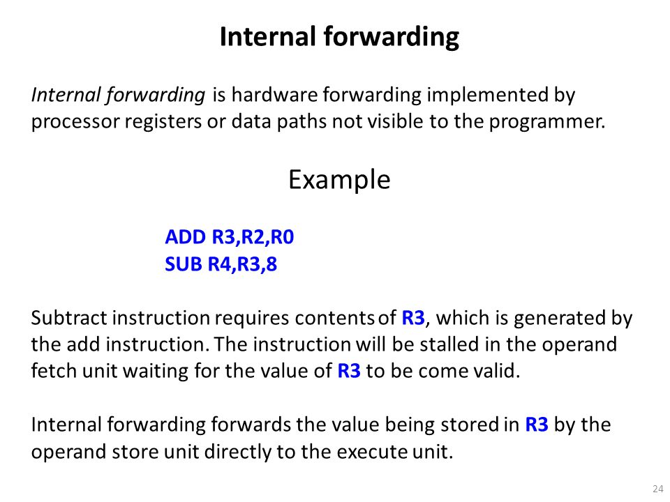 Internal forwarding Example