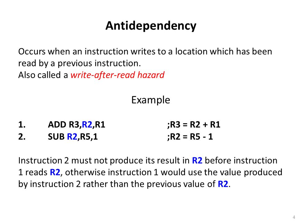 Antidependency Example