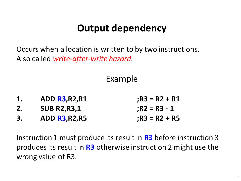 Output dependency Example