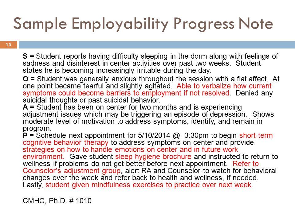 Sample Employability Progress Note
