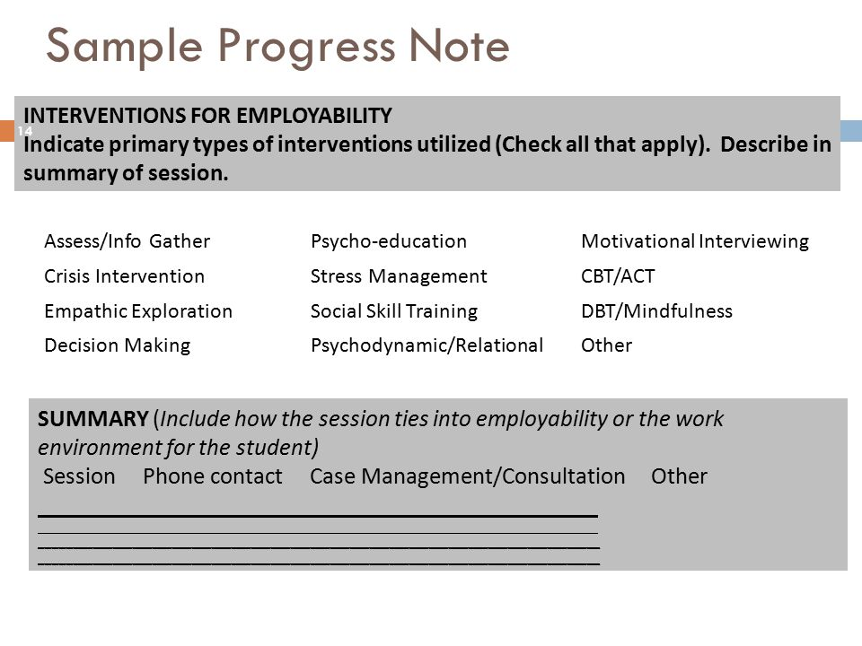 Sample Progress Note INTERVENTIONS FOR EMPLOYABILITY