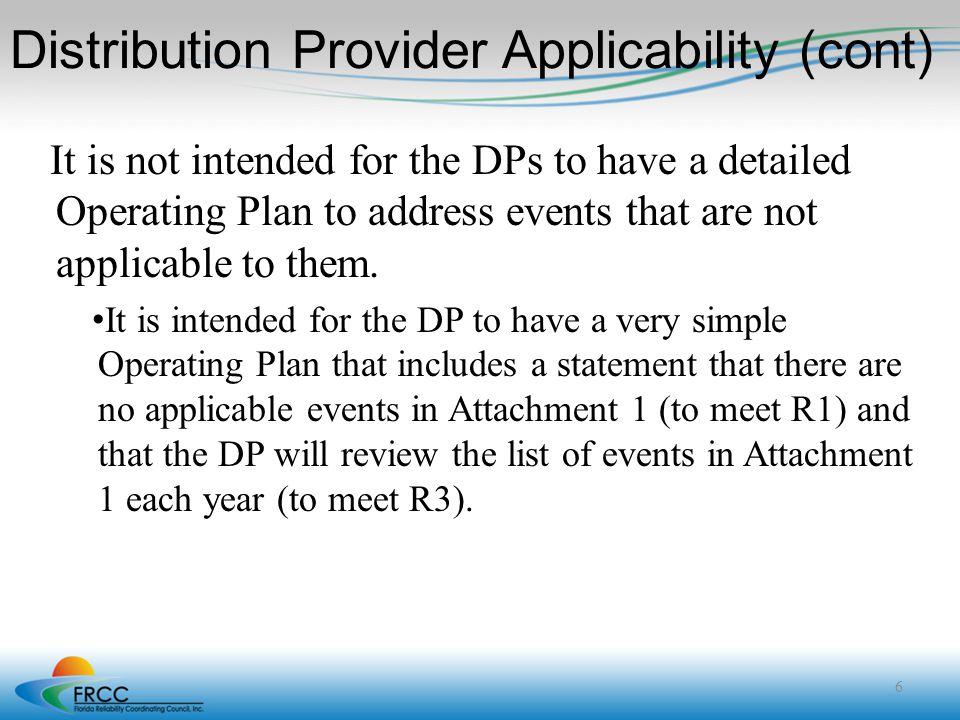 Distribution Provider Applicability (cont)