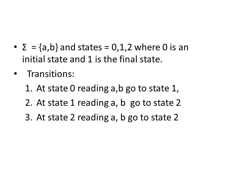 Σ = {a,b} and states = 0,1,2 where 0 is an initial state and 1 is the final state.