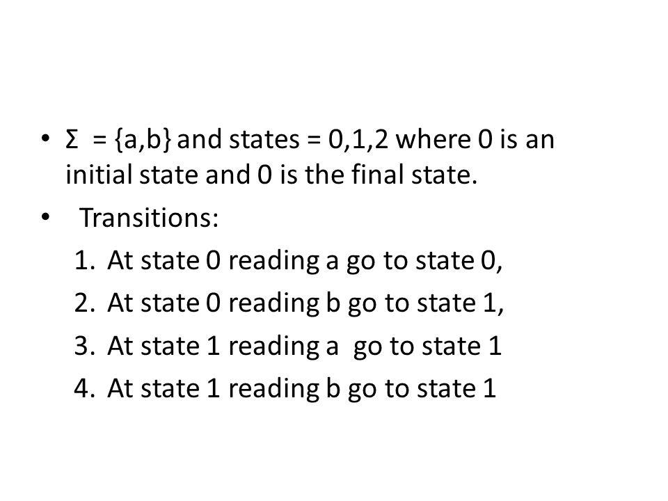 Σ = {a,b} and states = 0,1,2 where 0 is an initial state and 0 is the final state.
