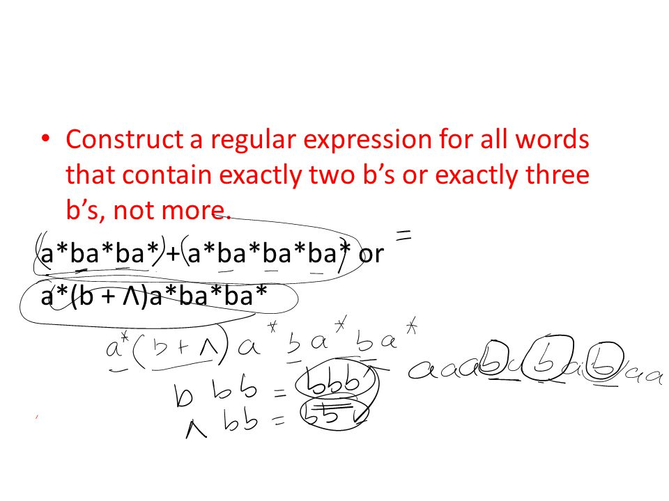 Construct a regular expression for all words that contain exactly two b's or exactly three b's, not more.