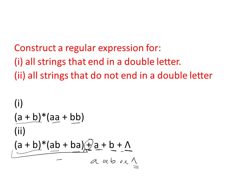Construct a regular expression for: