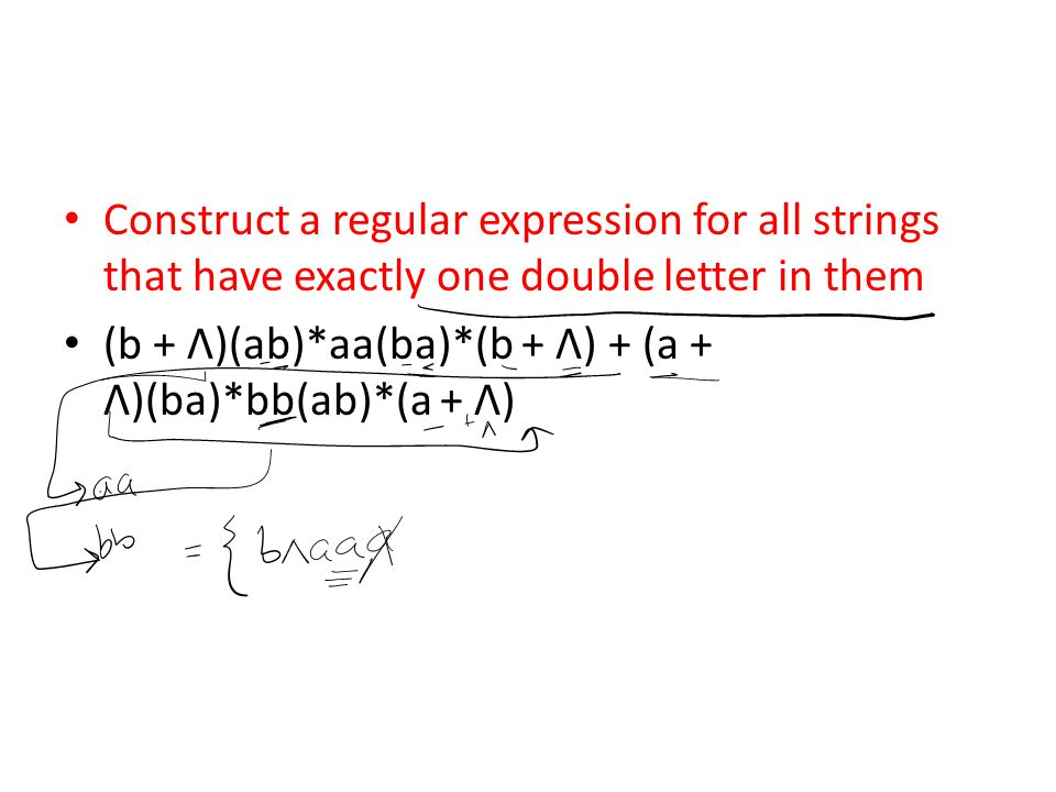 Construct a regular expression for all strings that have exactly one double letter in them