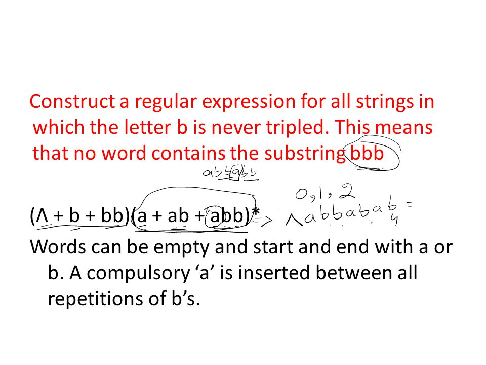 Construct a regular expression for all strings in which the letter b is never tripled. This means that no word contains the substring bbb