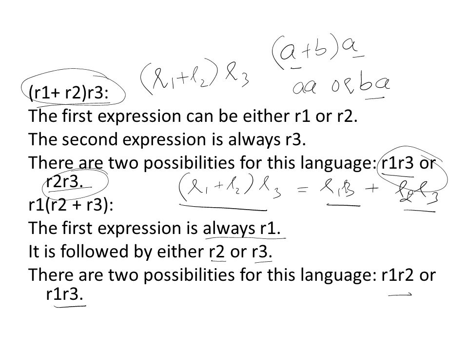 (r1+ r2)r3: The first expression can be either r1 or r2. The second expression is always r3.