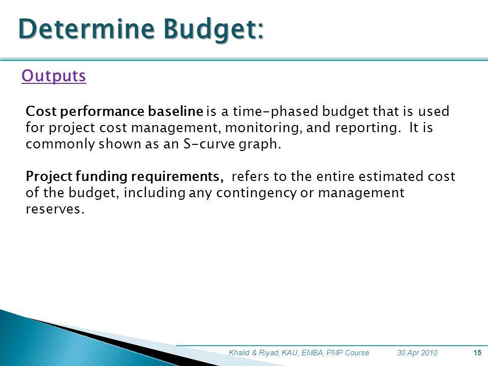 Determine Budget: Outputs
