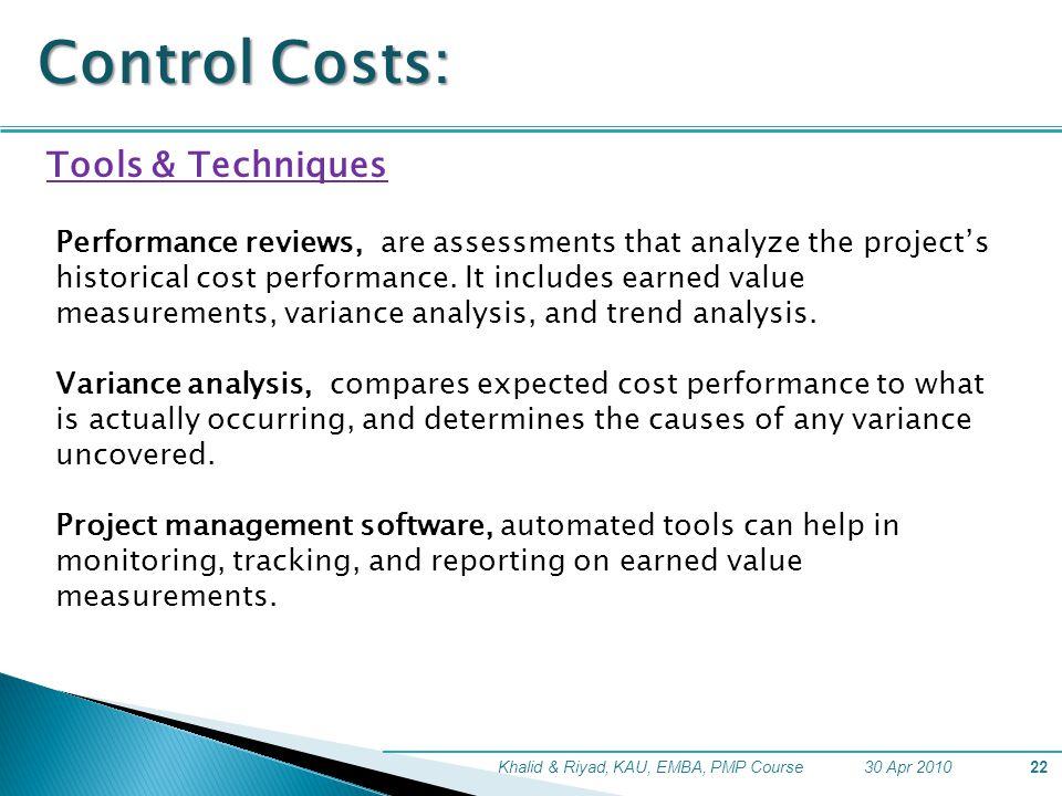 Control Costs: Tools & Techniques