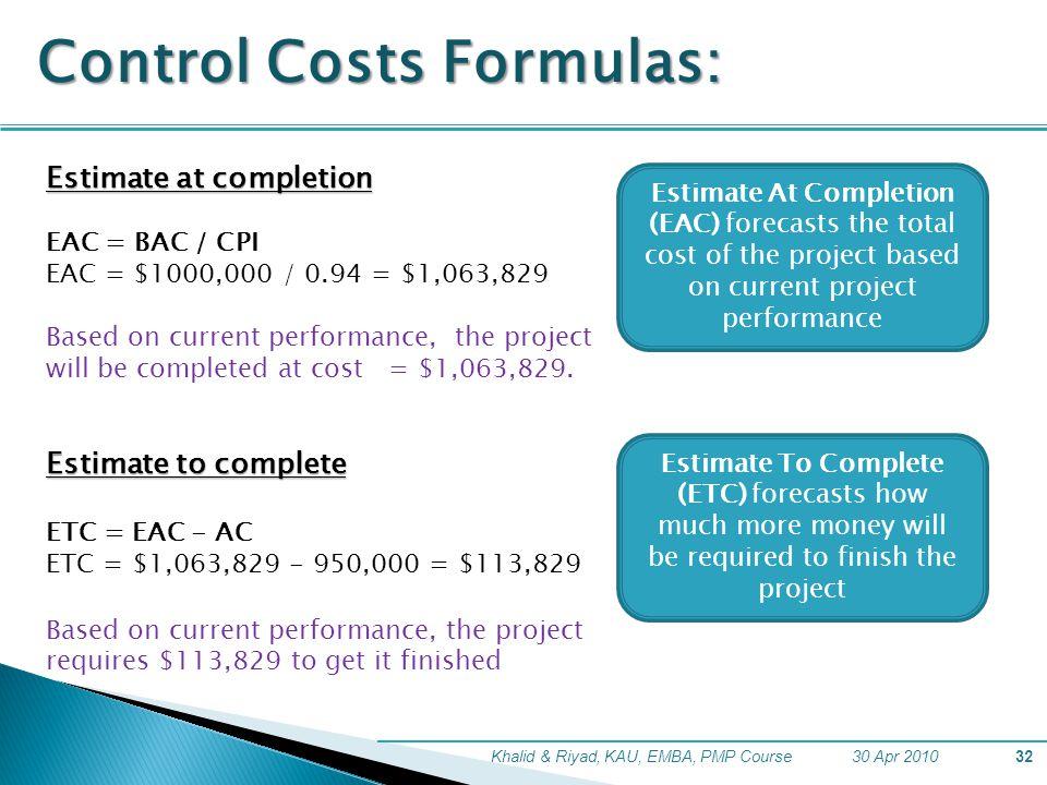 Control Costs Formulas: