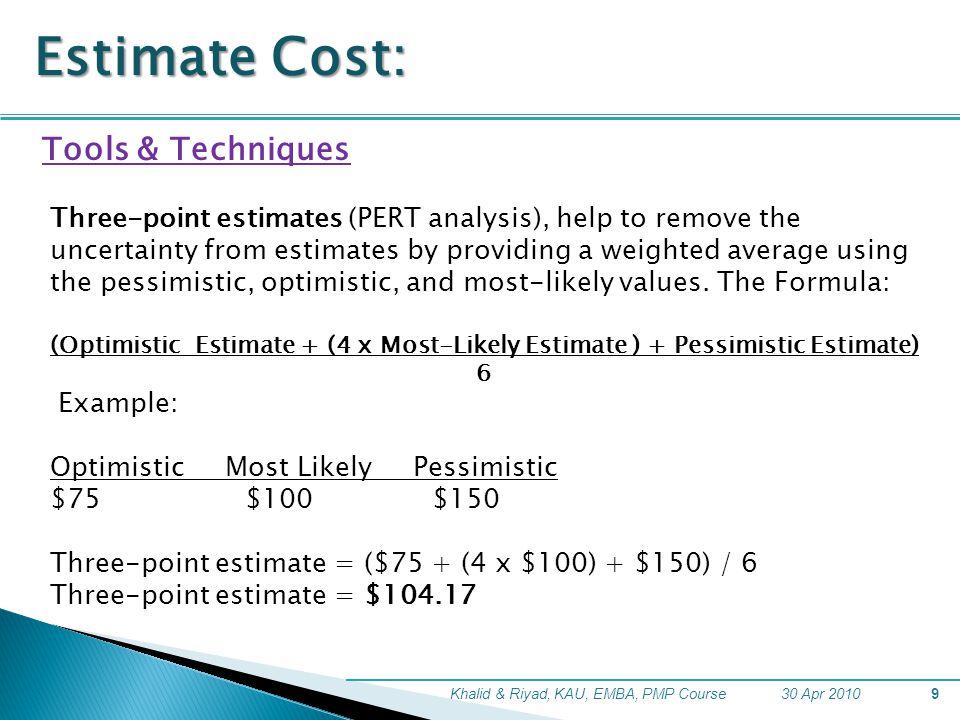 Estimate Cost: Tools & Techniques