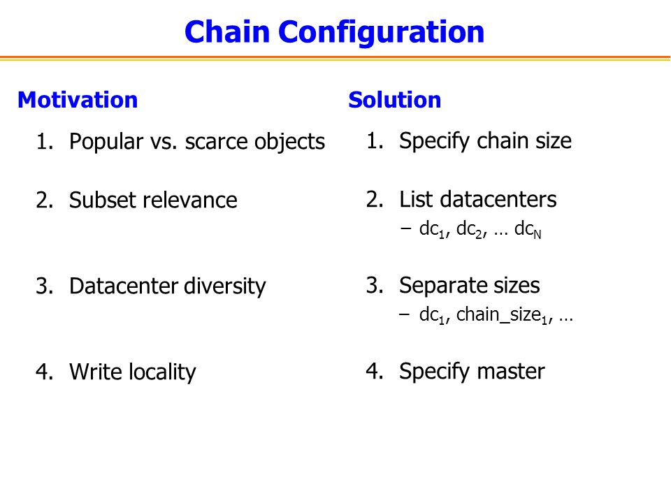 Chain Configuration Motivation Solution Popular vs. scarce objects