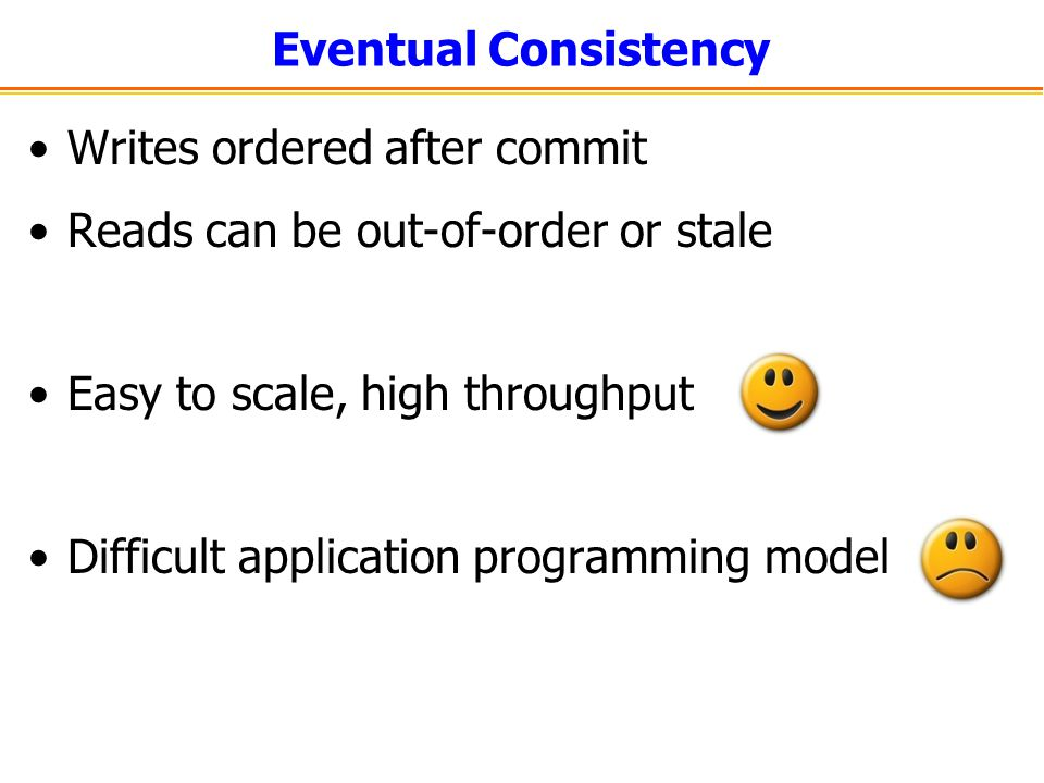 Eventual Consistency Writes ordered after commit. Reads can be out-of-order or stale. Easy to scale, high throughput.