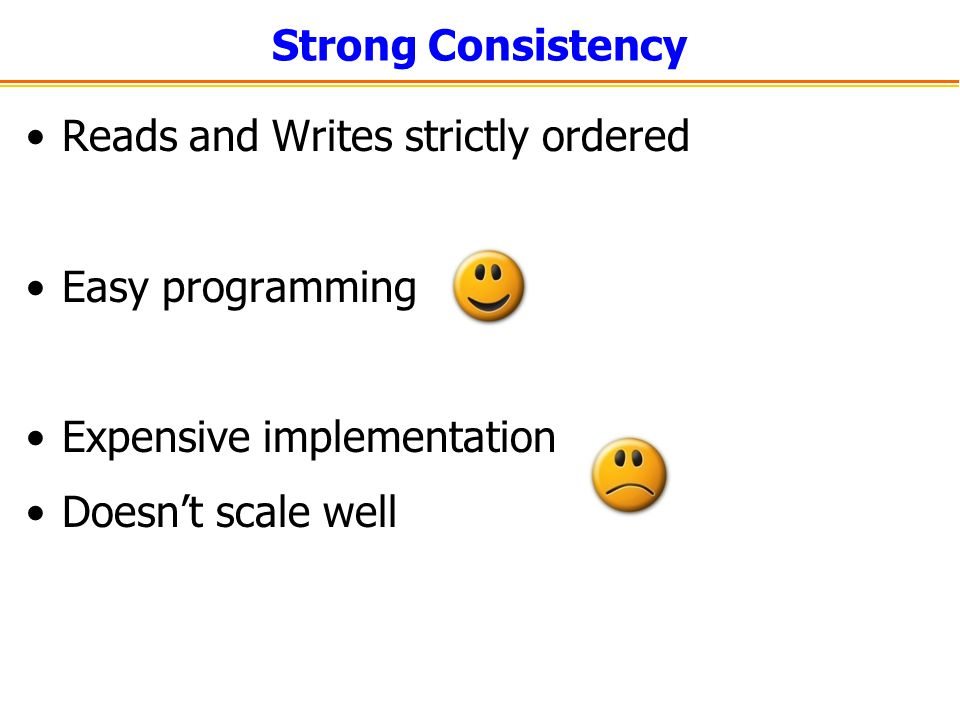 Strong Consistency Reads and Writes strictly ordered. Easy programming. Expensive implementation.