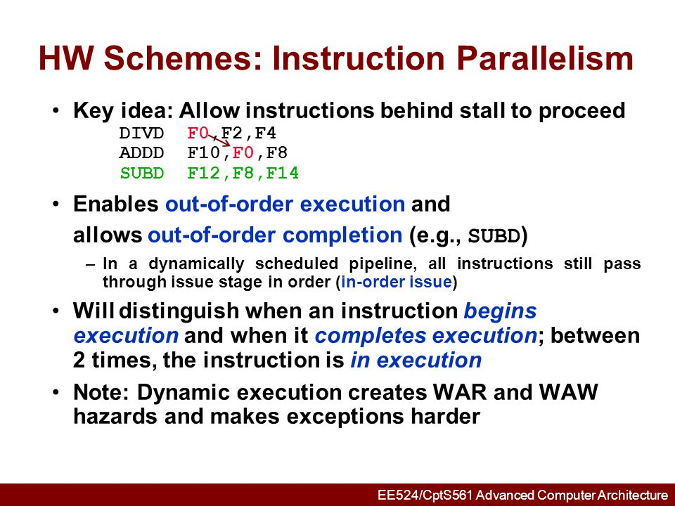 HW Schemes: Instruction Parallelism