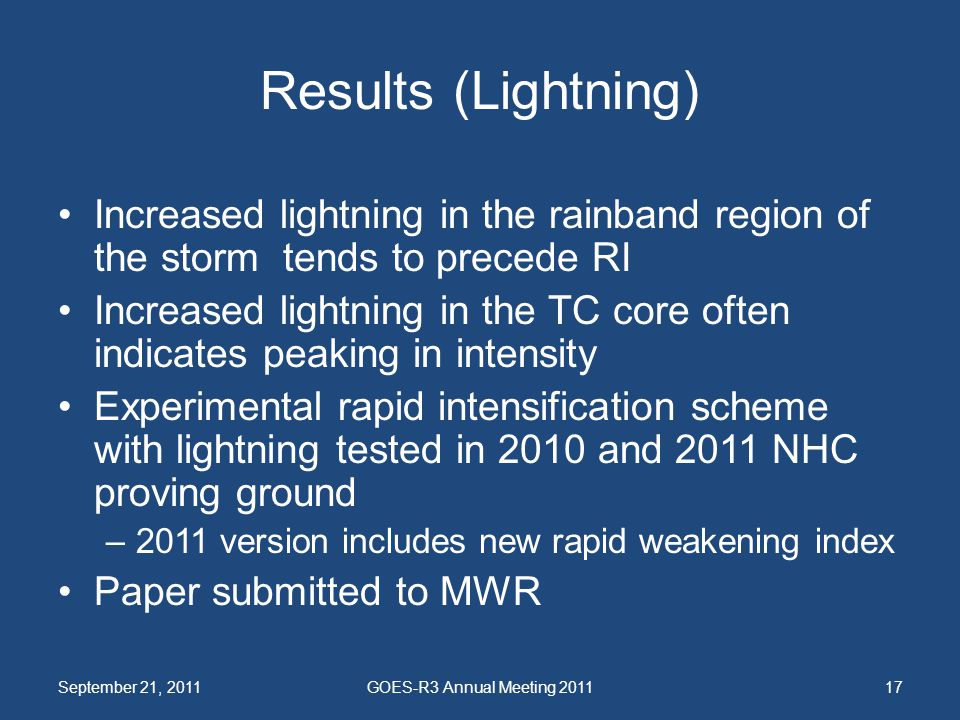 Results (Lightning) Increased lightning in the rainband region of the storm tends to precede RI.
