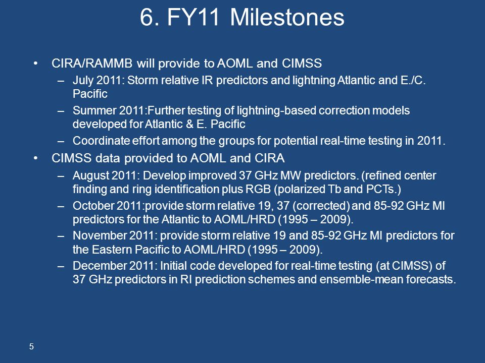 6. FY11 Milestones CIRA/RAMMB will provide to AOML and CIMSS