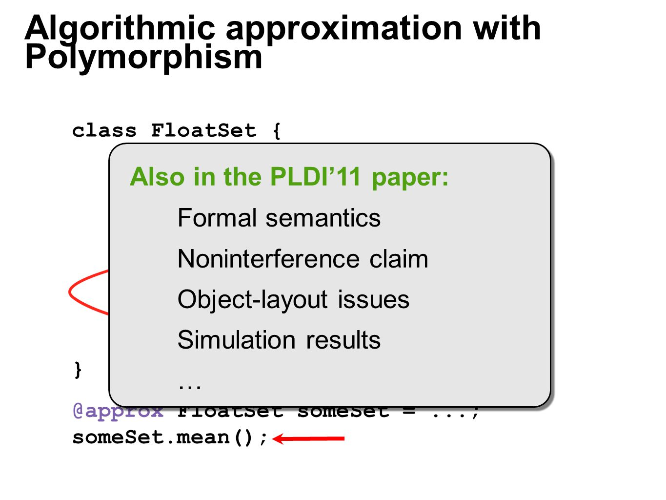 Algorithmic approximation with Polymorphism