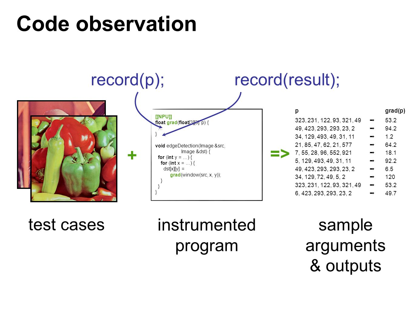 Code observation record(p); record(result); + => test cases