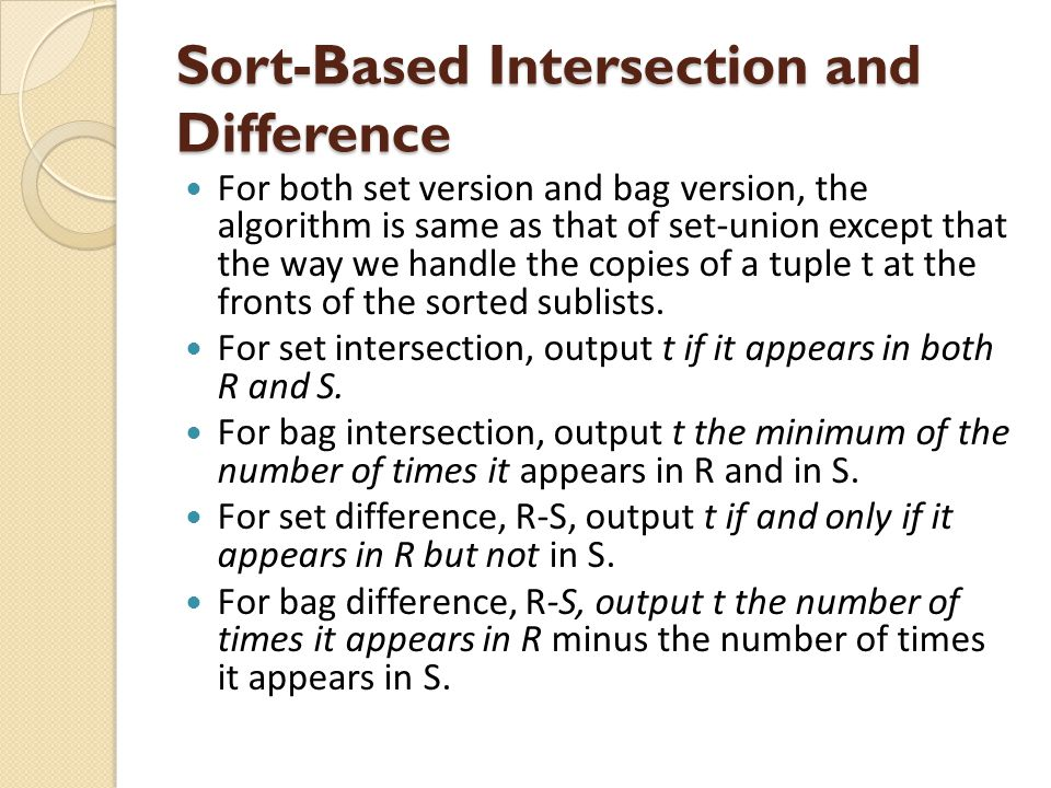 Sort-Based Intersection and Difference