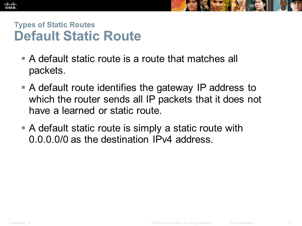 Types of Static Routes Default Static Route