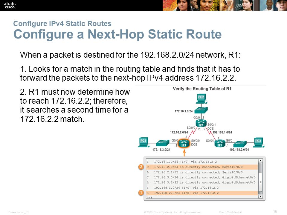 Configure IPv4 Static Routes Configure a Next-Hop Static Route